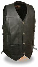 Men's Side Lace Leather Vest w/ Dual Inside Gun Pockets & Buffalo Nickel Snaps