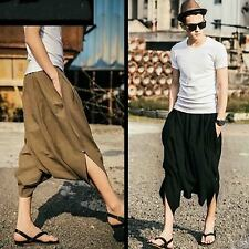 Men Loose Fit Oversize Drop Crotch Low Rise Harem Cropped Tapered Pants Trousers