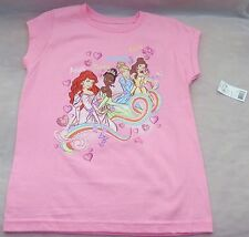 Disney Precious PINK Princess Glam Graphic T-Shirt TOP Girls Sizes  XS & L NWT