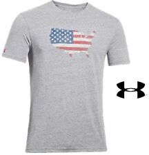 NEW W/TAGS MENS UNDER ARMOUR USA UNITED STATES OF AMERICA FLAG SHIRT GREY S/M/L