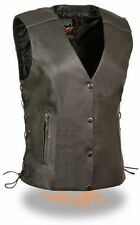 WOMEN'S LADIES MOTORCYCLE RIDING LEATHER VEST BUTTER SOFT LEATHER NEW BLACK