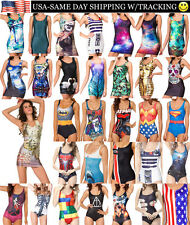 One Piece Swimsuit Bikini Sexy Womens Bodycon Skater Dress Tank Vest USA SELLER
