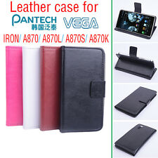 High Quality Leather Flip Case Stand Case Cover for Pantech Vega Iron A870