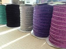 Elastic Ribbons for Hair ties/Headbands/Dressmaking Trim Glitter/Sparkly/Frosted