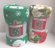 "HOLIDAY TIME CHRISTMAS DESIGN 50 X 60"" PLUSH THROWS"