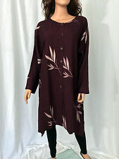 MENG DESIGN BURGUNDY & WHITE LONG PLUS SIZE SHIRT XL -  P7 SIZES lot#B035