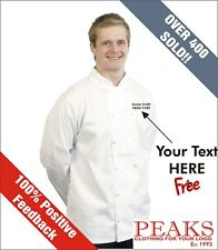Personalised Chefs Jackets Black or White Extra Small to 3XL **FREE TEXT**