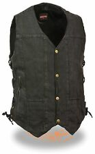 Men's 8 Pocket Black Denim Side Lace Biker Vest w/ Snap Front Design Motorcycle