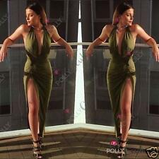Womens Wrap Draped Backless Plunge Evening Summer Prom Party Bodycon Maxi Dress