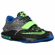 "Nike KD 7 GS ""Electric Eel"" GS Metallic Pewter Blue Lime SZ 5C-7Y Kids 69943-030"