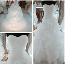 2015 White Organza Wedding Dress Bridal Gown Stock Size 6 -14