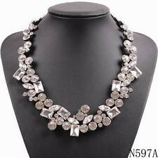 elegant brand chunky statement bib pendant crystal necklace for girls jewelry