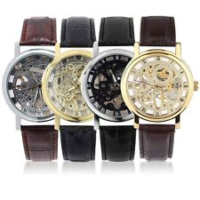 Luxury Men Hollow Skeleton Automatic Mechanical Stainless Steel Wrist Watch KK