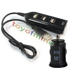 New USB Hub 4 Port Socket & Dual USB Car Charger Power Adapter for Smart Phone