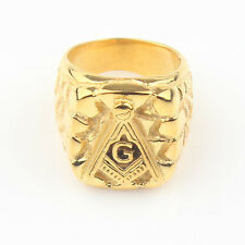 Freemasonry Free Mason Symbol Gold Tone Men's 316L Stainless Steel Masonic Ring