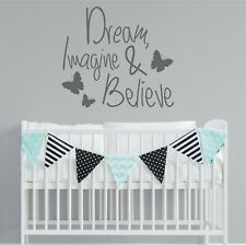 DREAM IMAGINE BELIEVE Wall Quote Sticker Vinyl Decal removable Decoration |WQA77