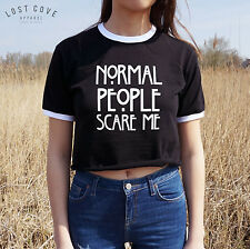 * Normal People Scare Me Crop Ringer Tee Top Fresh Cropped Shirt T-shirt *