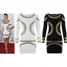 New Celebrity Womens Kim Kardashian Beyonce Foil Print Bodycon Midi Style Dress