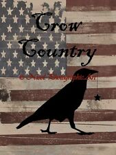 Americana Rustic Crow Country Prim Crow Original Signed Picture Art Print A747