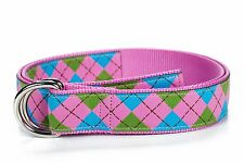 Douglas Paquette D-Ring Belt - Argyle Pink (Med or Large)(New W/Tags)