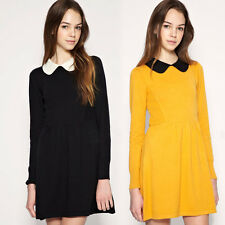 Womens Long Sleeves Pleated Peter Pan Collar Contrast Collar Baby Doll Dress