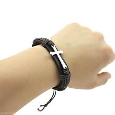 Men Punk Style Bracelet PU Leather Hemp Rope Weave Cross Alloy Wrap Wrist Band