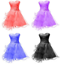 New Short Organza Bridesmaid Formal Gowns Ball Party Cocktail Evening Prom Dress