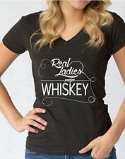 Real Ladies Prefer Whiskey V-NECK WOMEN T-Shirt Drink Party Drunk Ladies Shirt