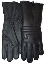 Lady Zipper Motorcycle Gauntlet Leather Gloves Winter Cold Weather Waterproof