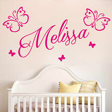 SWIRLY personalised Name with BUTTERFLIES Wall Art sticker decal Girls Room NA18