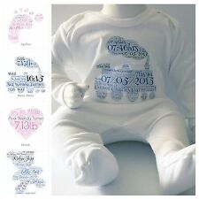 PERSONALISED BABY SLEEPSUIT/BABYGROW, GREAT NEW BABY GIFT, NAME,DOB&WEIGHT !