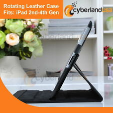 New High Quality 360 Rotating Tablet Case w/ Smart Cover fits iPad (2nd-4th Gen)