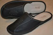 Mens Thick Sheep Leather Black Slippers Sandal Shoes Handmade In Poland Slip On