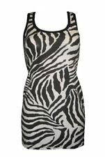NEW GIRLS / LADIES ZEBRA ANIMAL PRINT LONG VEST TANK TOP GOTH EMO PUNK NIGHT OUT
