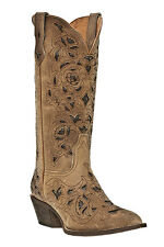 NEW WOMENS LAREDO COWBOY BOOTS HIGH W/ DK BROWN CUTOUTS BROWN CRAZYHORSE #52101