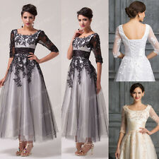 Vintage DESIGNER Lace Formal Wedding Prom Dresses Long Party Evening BALL gownS