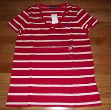NEW NWT Polo Ralph Lauren Womens PONY LOGO V-Neck Red/Cream Striped T-Shirt *W3