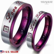 VALYRIA 316L Stainless Steel Purple Lover Couple Engagement Wedding Band Ring