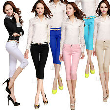 Women Casual strech pencil Jean Skinny Pant Candy Colour Short Cropped Trousers