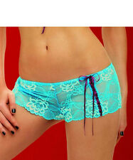 Caprice CAN CAN Pretty Lace Short Brief Turquoise/Wine   Size Medium  12/14