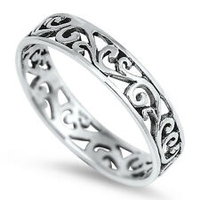 Fancy Filigree Band Ring, Sterling Silver, Elegant Style High Quality, Gift Box