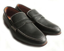 NEW MENS PENNY LOAFERS BOAT SLIP ON LEATHER LINED COMFORT DRESS SHOE / BLACK