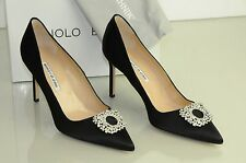 New Manolo Blahnik BB 90 JEWEL Crystals Black Satin Shoes Pumps 40.5  41 evening