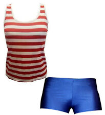 Red & White Stripe Vest, Top, Royal Blue Dark Blue Shorts Hotpants  Fancy Dress