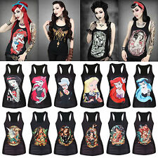 Hot Women 3D Print Disney Punk Gothic Vest Tank Top Clubwear Sleeveless T-shirts