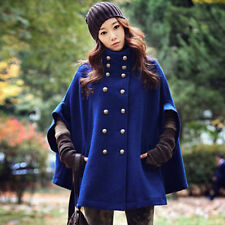 Womens Warm Double Breasted Batwing Cape Poncho Cloak Outwear Jacket Coat Parka