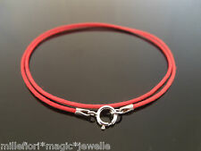 """1mm Red Waxed Cord & 925 Sterling Silver Necklace 14"""" 16"""" 18"""" 20"""" 22"""" 24"""" 26"""""""