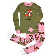 Lazy One Kids Children PJ Pajamas Sleepwear Green Orange Fox Foxy