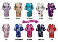 Set of 4 6 8 10 Floral Peacock Satin Kimono Robe Gown size 8-16 Wedding Bridal