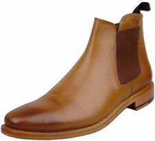 Mens New Burnished Tan Full Leather Chelsea Ankle Boots Size 7 8 9 10 11 12